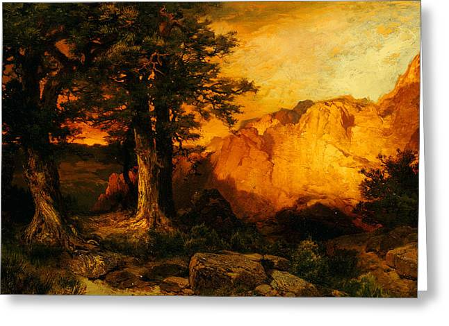 The Country School Greeting Cards - The Grand Canyon Greeting Card by Thomas Moran