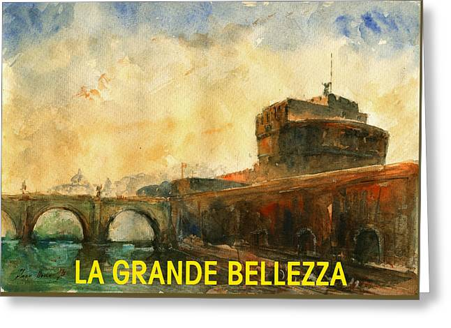 Grande Paintings Greeting Cards - The great beauty poster film Greeting Card by Juan  Bosco