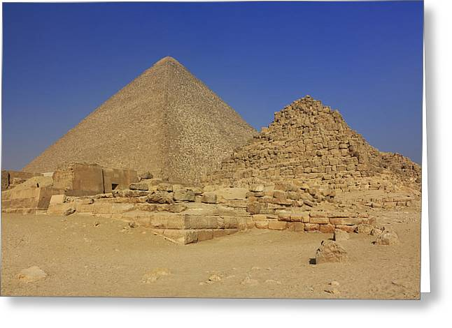 Historic Site Greeting Cards - The Great Pyramid of Cheops Giza Egypt  Greeting Card by Ivan Pendjakov