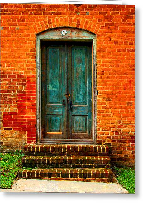 Framed Old Door Print Greeting Cards - The Green Door Greeting Card by Bob Whitt