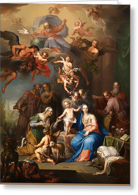 Religious work Paintings Greeting Cards - The Holy Family Greeting Card by Franz Christoph Janneck