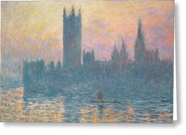 The Houses Greeting Cards - The Houses of Parliament  Sunset Greeting Card by Claude Monet