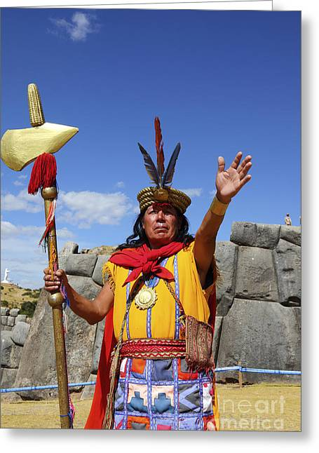 Winter Solstice Greeting Cards - The Inca at Sacsayhuaman Greeting Card by James Brunker