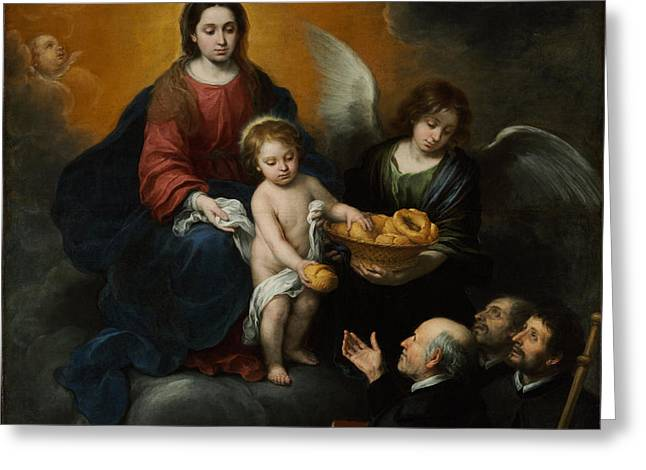 Bartolome Esteban Murillo Greeting Cards - The Infant Christ Distributing Bread to the Pilgrims Greeting Card by Celestial Images