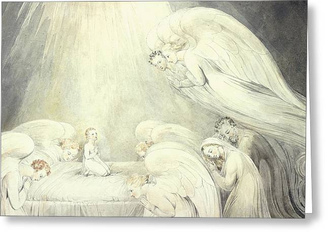 Religious Drawings Greeting Cards - The Infant Jesus Saying His Prayers Greeting Card by William Blake