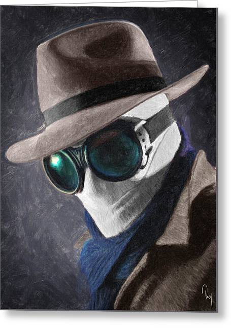 Classic Hollywood Paintings Greeting Cards - The Invisible Man Greeting Card by Taylan Soyturk