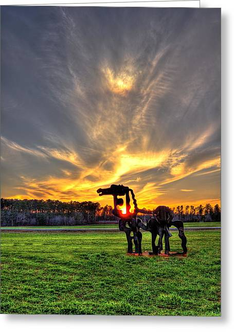 Campus Sculptures Greeting Cards - The Iron Horse Sunset  Greeting Card by Reid Callaway