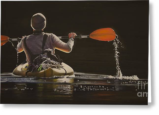 Kayak Mixed Media Greeting Cards - The Kayaker Greeting Card by Laurie Tietjen