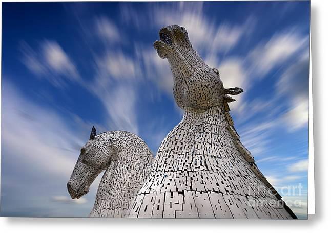 The Kelpies At Falkirk Greeting Card by Janet Burdon