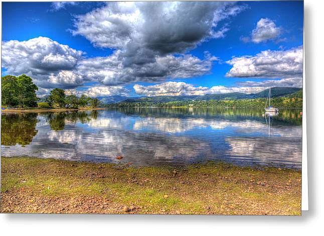 Peaceful Scene Greeting Cards - The Lake District England UK at Ullswater with mountains and blue sky on beautiful still summer day  Greeting Card by Michael Charles