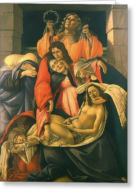 The Followers Greeting Cards - The Lamentation Over The Dead Christ Greeting Card by Sandro Botticelli