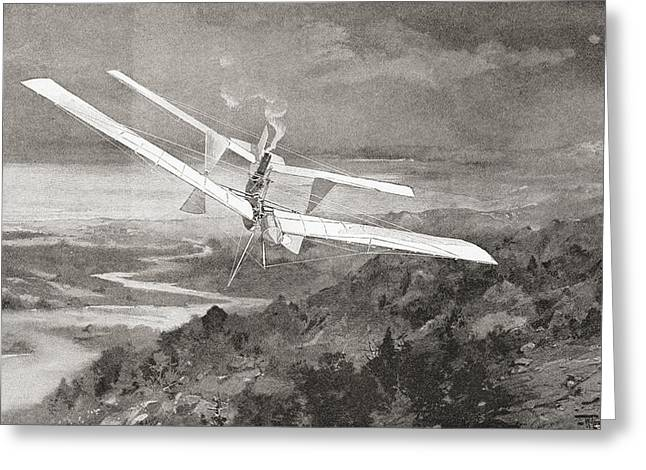Samuel Greeting Cards - The Langley Aerodrome Flying Machine In Greeting Card by Ken Welsh