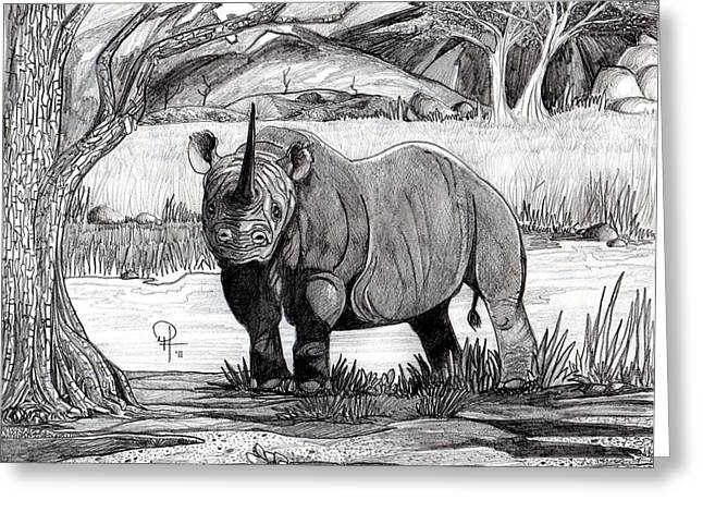 Rhinoceros Drawings Greeting Cards - The Last BLack Rhino Greeting Card by Doug Hiser