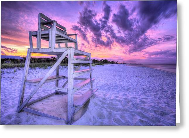 Pc Greeting Cards - The Lifeguard Stand Greeting Card by JC Findley