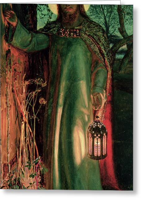 Biblical Greeting Card featuring the painting The Light Of The World by William Holman Hunt