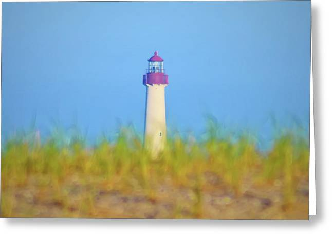 Atlantic Beaches Digital Art Greeting Cards - The Lighthouse at Cape May Greeting Card by Bill Cannon