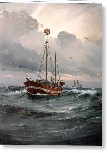 Skagen Greeting Cards - The Lightship At Skagen Reef Greeting Card by Carl Locher