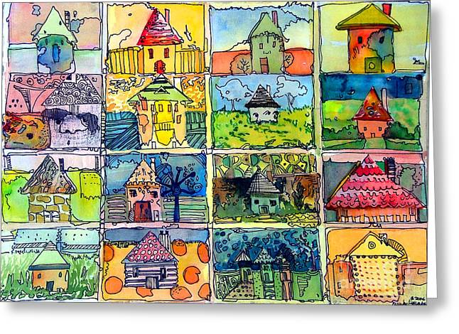 Funny Face Greeting Cards - The Little Houses Greeting Card by Mindy Newman