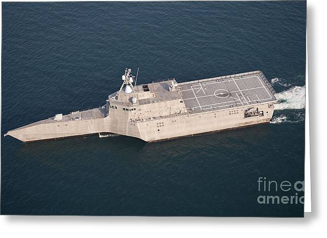 Directly Above Greeting Cards - The Littoral Combat Ship Uss Greeting Card by Stocktrek Images