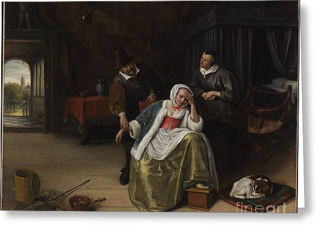 Lovesick Greeting Cards - The Lovesick Maiden Greeting Card by Jan Steen