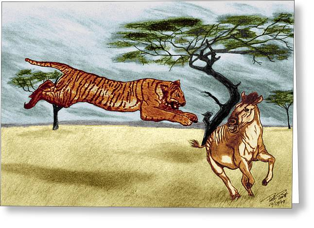 The Tiger Drawings Greeting Cards - The Lunge Greeting Card by Peter Piatt