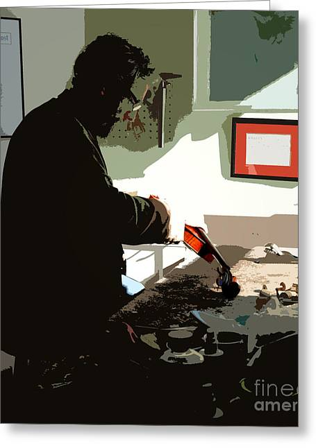 Repaired Digital Art Greeting Cards - The Luthier Greeting Card by Steven  Digman