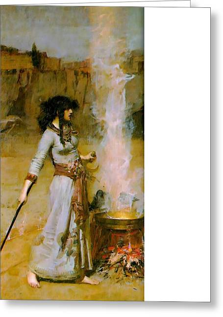 The Magic Circle Greeting Card by John William Waterhouse