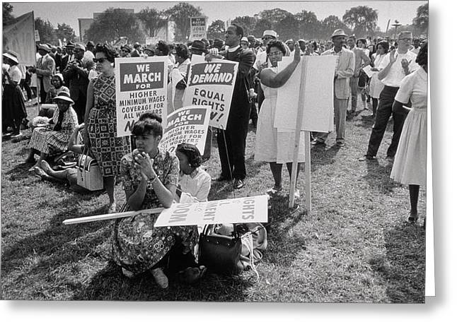 Civil Rights Movement Greeting Cards - The March on Washington  At Washington Monument Grounds Greeting Card by Nat Herz