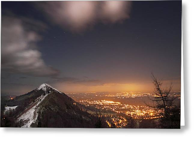 Winter Night Greeting Cards - The Midnight On Malvern Hills Greeting Card by Angel  Tarantella