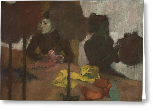 Working Women Greeting Cards - The Milliners Greeting Card by Edgar Degas