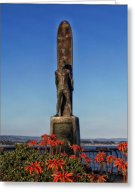 Santa Cruz Surfing Greeting Cards - The Monument - To Honor Surfing - Santa Cruz California Greeting Card by Mountain Dreams