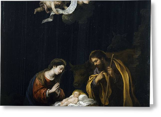 Bartolome Esteban Murillo Greeting Cards - The Nativity Greeting Card by Celestial Images