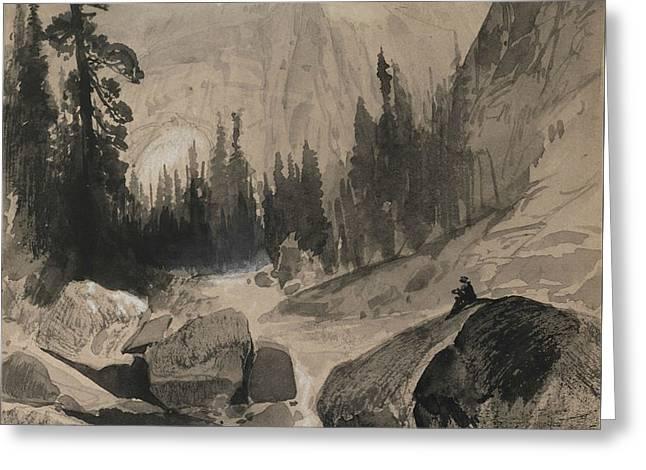The North Dome Yosemite California Greeting Card by Thomas Moran