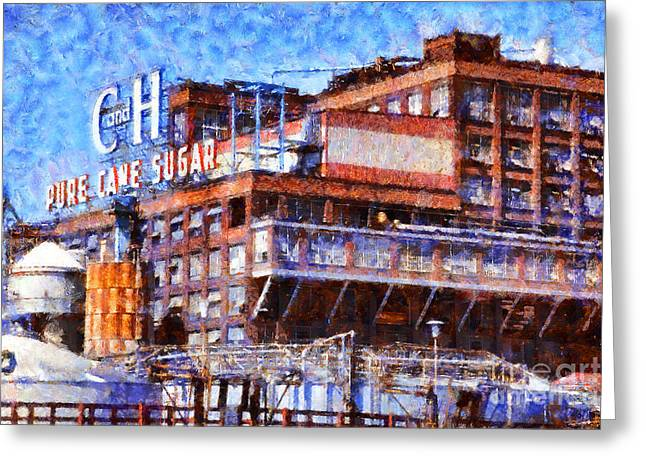 Back Roads Digital Art Greeting Cards - The Old C and H Pure Cane Sugar Plant in Crockett California . 5D16769 Greeting Card by Wingsdomain Art and Photography