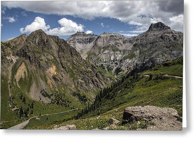 Grey Clouds Greeting Cards - Pathways in the Painted Mountains Greeting Card by David Kehrli