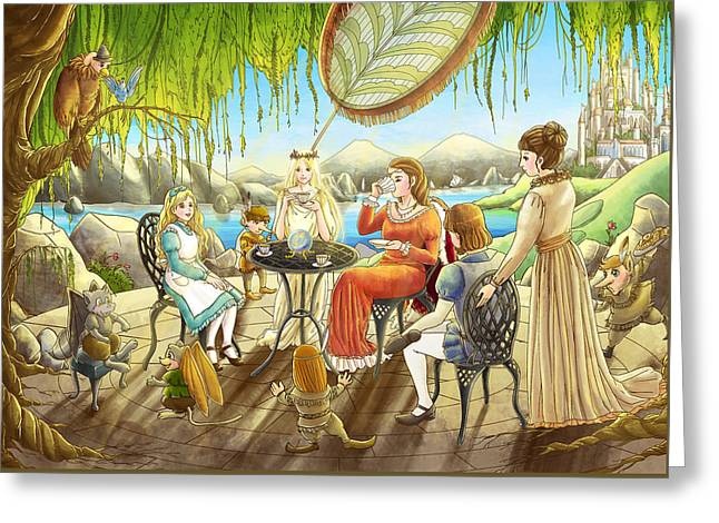 The Palace Garden Tea Party Greeting Card by Reynold Jay