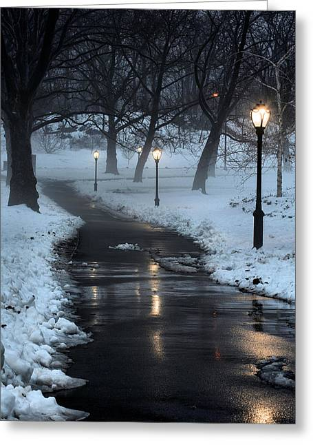 Night Lamp Greeting Cards - The Path Greeting Card by JC Findley