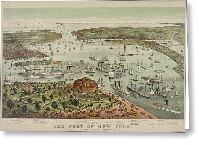 The Battery Greeting Cards - The Port of New York Greeting Card by Celestial Images