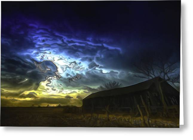 Stormy Night Greeting Cards - The Power of a Storm in Formation Greeting Card by  Fli Art