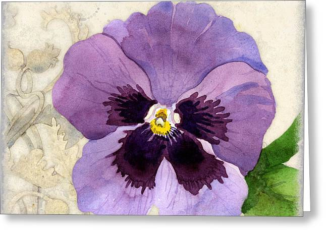 Bold Blossom Greeting Cards - The Promise of Spring - Pansy Greeting Card by Audrey Jeanne Roberts