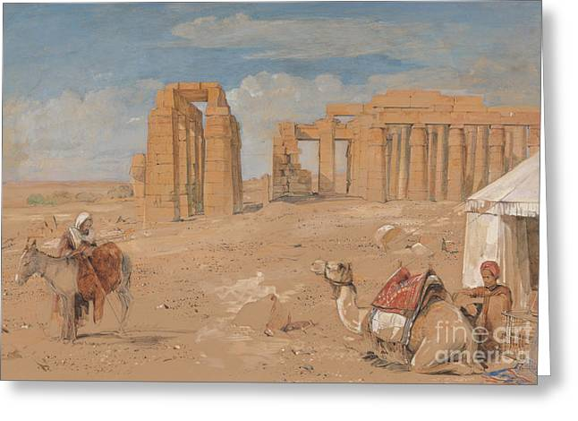 Frederick Drawings Greeting Cards - The Ramesseum at Thebes Greeting Card by John Frederick Lewis