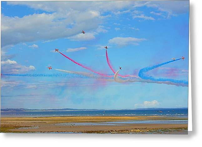 Global Hawk Greeting Cards - The Red Arrows Greeting Card by Mark Hinds