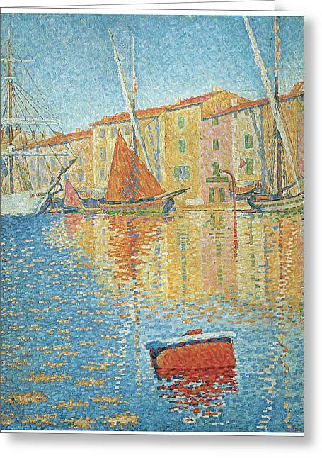 Sailboats In Harbor Greeting Cards - The Red Buoy Greeting Card by Paul Signac