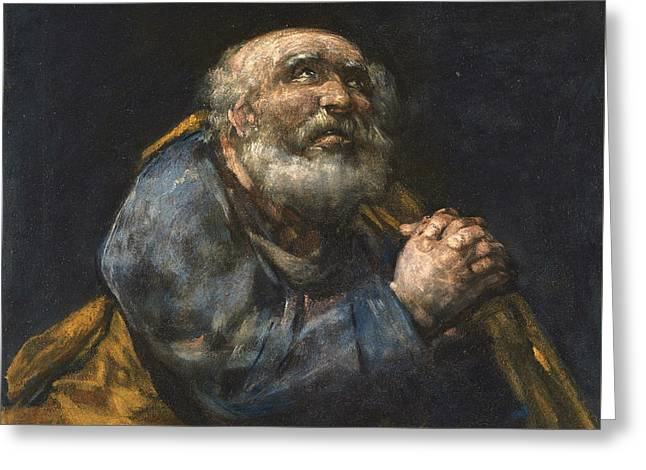 The Repentant St Peter Greeting Card by Francisco Goya