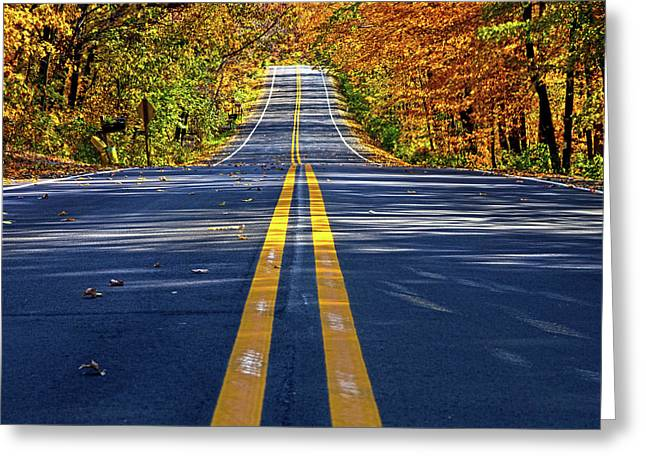 Autumn Road Greeting Cards - The Road Greeting Card by Phil Koch