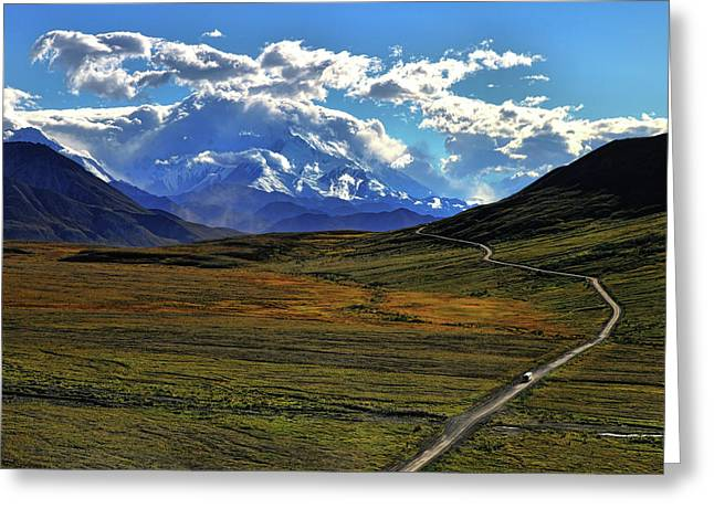Denali Greeting Cards - The Road To Denali Greeting Card by Rick Berk