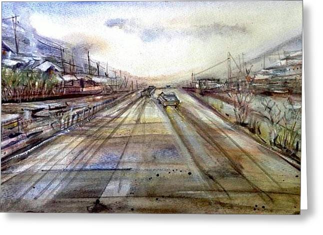 Car Part Paintings Greeting Cards - The road to the town Greeting Card by Katerina Kovatcheva