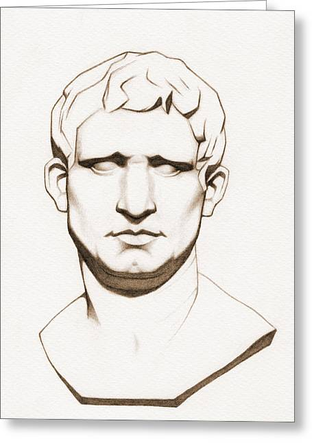The Roman General - Marcus Vipsanius Agrippa - In Sepia Greeting Card by Stevie the floating artist