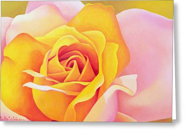 Close Up Floral Paintings Greeting Cards - The Rose Greeting Card by Myung-Bo Sim