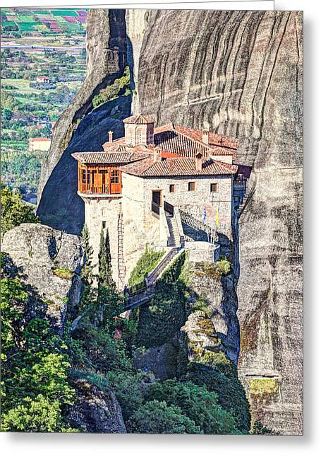 Medieval Temple Greeting Cards - The Roussanou Monastery in the Meteora - Greece Greeting Card by Constantinos Iliopoulos